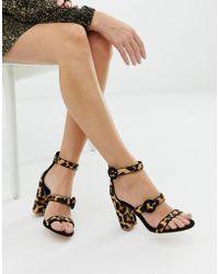 f2085ef75f4c Faith - Dellar Leopard Print Blocked Heeled Sandals - Lyst