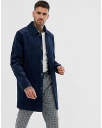 ASOS Single Breasted Trench Coat In Cord In Navy - Blue