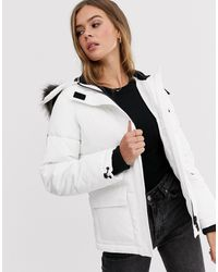 New Look Faux Fur Hood Puffer Jacket - White