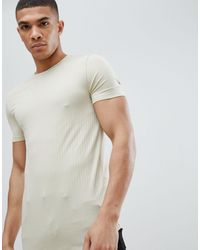 ASOS Muscle Fit Longline Rib T-shirt With Stretch And Curved Hem In Beige - Natural