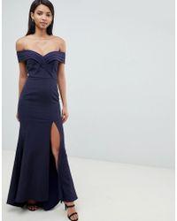 Jarlo - Pleated Off Shoulder Bardot Maxi Dress In Navy - Lyst
