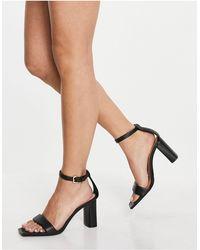 Stradivarius Strappy Heeled Sandal - Black