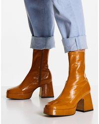 TOPSHOP Светло-коричневые Кожаные Ботинки На Платформе Heaven-светло-бежевый Цвет - Синий