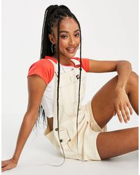 Dickies Roopville Short Dungarees - White