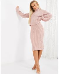 Missguided Co-ord Fluffy Midi Skirt - Pink
