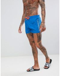 DIESEL - Blue Side Logo Swimming Trunks With Contrast Cords - Lyst