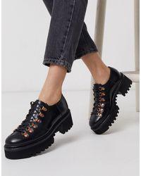 Grenson Лакированные Кожаные Туфли Черного Цвета На Массивной Подошве Со Шнуровкой -черный