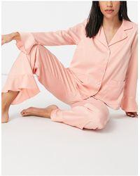 Y.A.S Esclusiva - Pigiama con camicia e pantaloni rosa con volant