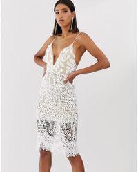 Love Triangle Vestito midi bianco con spalline sottili e applicazione 3D