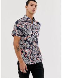 Ted Baker Рубашка С Гавайским Цветочным Принтом - Синий