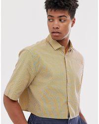 ASOS Oversized Boxy Fluro Grid Check Shirt - Orange