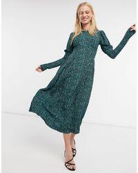 River Island Animal Print Puff Sleeved Slit Midi Dress - Green