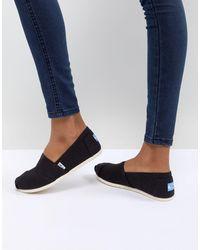 TOMS Classic Canvas Flat Shoes - Black
