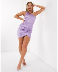 AX Paris Лавандовое Атласное Платье На Одно Плечо -фиолетовый - Пурпурный