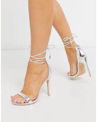 Glamorous Ankle Tie Heeled Sandals - Metallic