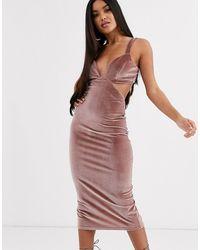 ASOS Fluwelen Mini-jurk Met Uitsnijding En Gesp Achterop - Roze