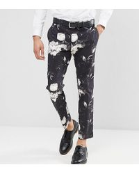 ASOS - Tall Skinny Crop Suit Trousers In Black Photographic Print - Lyst