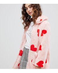 Daisy Street Abrigo de pelo sinttico con corazones en toda la prenda de - Rosa