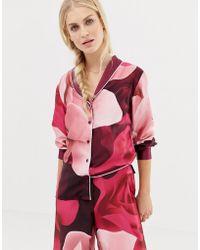 Ted Baker B By Porcelain Rose Printed Revere Pajama Top - Purple