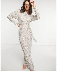 ASOS Batwing Scatter Embellished Maxi Dress - Metallic