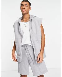 ASOS Tracksuit With Sleeveless Hoodie And Cargo Pocket Shorts - Grey