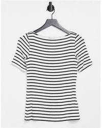Warehouse - Stripe Slash Neck T-shirt - Lyst