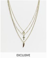 Reclaimed (vintage) Inspired Multirow Necklace With Stone & Cross Detail - Metallic