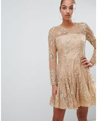 Forever Unique Lace Skater Dress - Pink