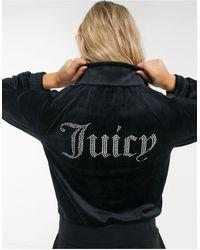 Juicy Couture – Trainingsanzugoberteil aus schwarzem Velours mit strassbesetztem Logo, Kombiteil