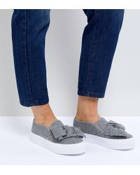 ASOS - Asos Discovery Wide Fit Bow Flatform Plimsolls - Lyst