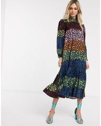 Never Fully Dressed Trapeze Maxi Dress With Ruffle Hem - Multicolour