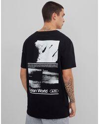 """Bershka T-shirt con stampa """"Utopia"""" sul retro nera - Nero"""