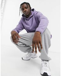 ASOS Relaxed Polar Fleece Hoodie With Funnel Neck & Bungee Details - Purple