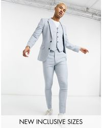 ASOS Wedding Super Skinny Wool Mix Suit Trousers - Blue