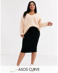 ASOS Asos Design Curve Jersey Pencil Midi Skirt - Black