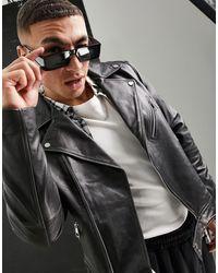 ASOS Blouson en cuir style motard - Gris