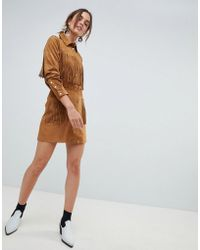 Mango - Fringe Faux Suede Skirt In Brown - Lyst