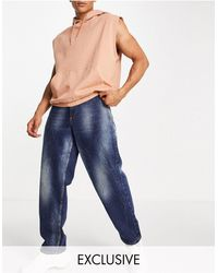 Collusion X014 90s baggy Jeans With Extreme Wash Detail - Blue
