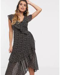 Missguided Midi Frill Tea Dress - Multicolour