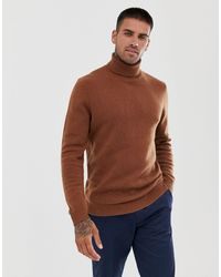 ASOS Lambswool Roll Neck Sweater - Brown