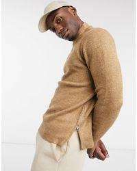 Burton Knitted Turtle Neck Jumper With Side Zip - Brown