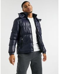 Brave Soul Puffer Jacket With Funnel Neck - Blue