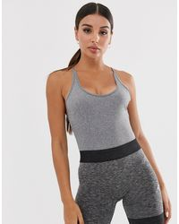 South Beach Gray Bodysuit With Strappy Back