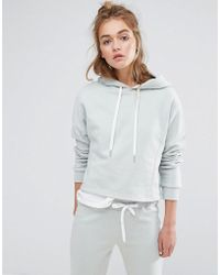 South Beach Cropped Hoodie In Mint - Green