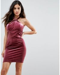 Wyldr Isabelle Velvet Mini Dress With Twist Front Detail - Pink