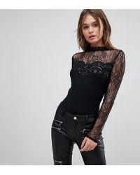 Lipsy Body habill manches longues en dentelle avec sequins - Noir