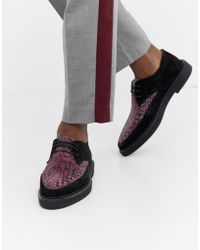 House Of Hounds Kain Creeper Derby Shoes In Purple Snake Print - Black