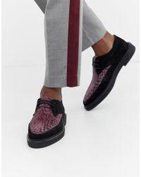 House Of Hounds Zapatos Derby con suela creeper y estampado de serpiente violeta Kain - Negro