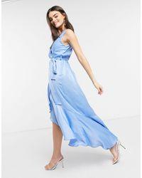 Flounce London Satin Wrap Front Midaxi Dress - Blue