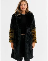 Urbancode Coat With Ombre Tiger Sleeves-black